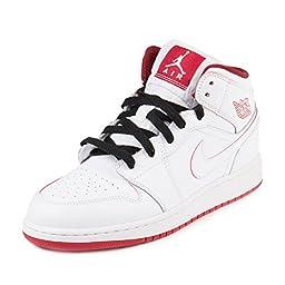Nike Jordan Kids Air Jordan 1 Mid Bg White/Gym Red/Black Basketball Shoe 6 Kids US