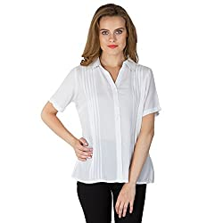 Instict Women's Rayon Shirts (AM030316_L, White, Large)
