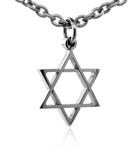 Men's Grey Titanium Star Of David Pendant Necklace , 20
