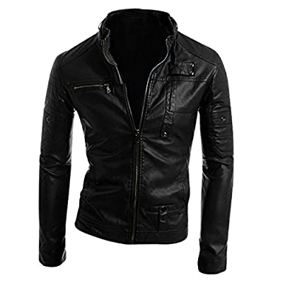 sourcingmap Mens Clothing Stand Collar Long Sleeve Imitation Leather Jacket