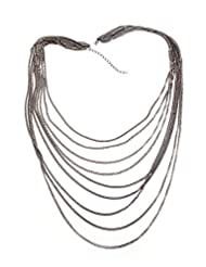 1.1 ? By Xpressionss Gunmetal Multi Layer Chain Necklace