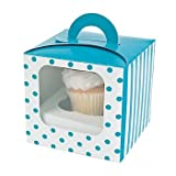 Turquise Polka Dot Cupcake Boxes (package of 6)
