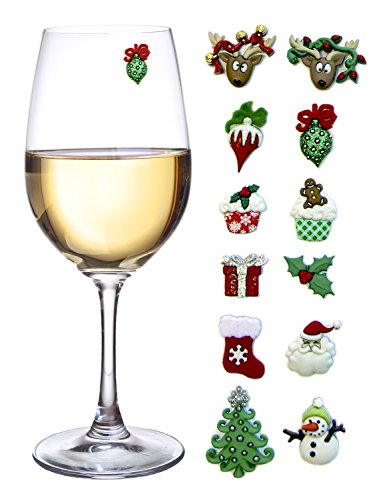 Christmas Holiday Magnetic Wine and Cocktail Glass Markers (Set of 12)
