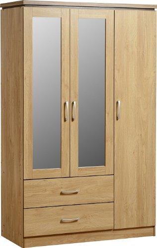 seconique-charles-3-door-2-drawer-mirrored-wardrobe-oak-effect-with-walnut-trim