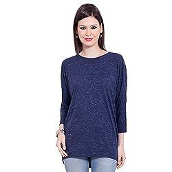 TUNTUK Women's Classi Top Blue Cotton Top