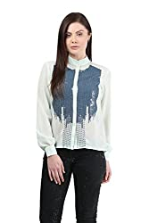 Mayra Women's Georgette Shirt( 1512T11177_L, Blue)