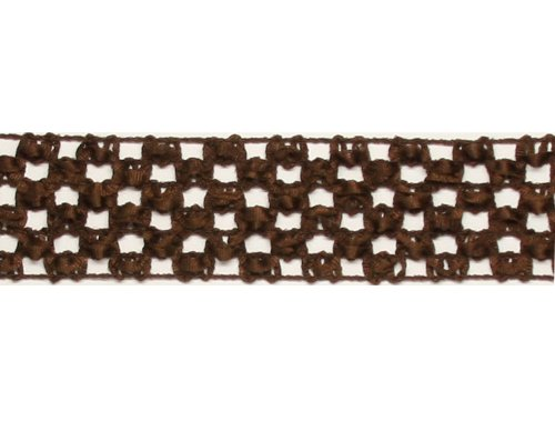 Brown - 1 1/2 inch Stretchy Crocheted Headband