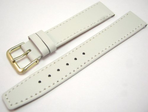 White Leather Watch Strap Band With A Stitched Edging And Nubuck Lining 18mm