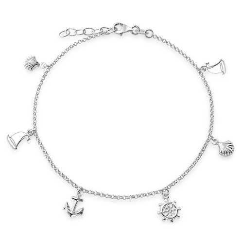 Bling Jewelry 925 Silver Seashell Anchor Sailboat Nautical Charm Anklet 9in