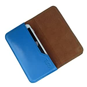 i-KitPit : Genuine Leather Flip Pouch Case Cover For Lava Xolo A800 (SKY BLUE)