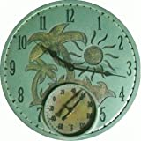 "Springfield  91415 14"" Poly Resin Palm Trees Clock with Thermometer"