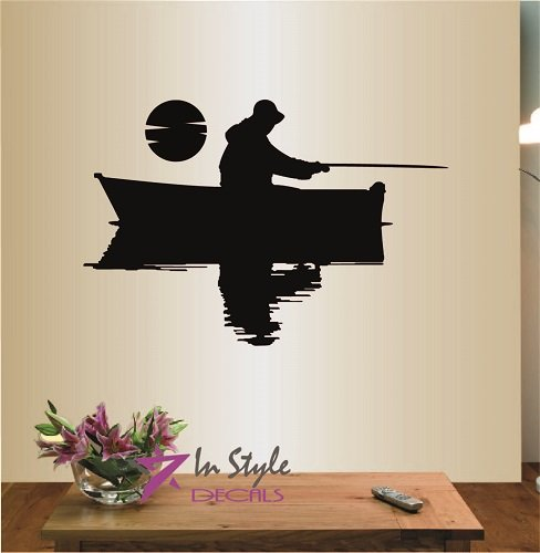 Wall Vinyl Decal Home Decor Art Sticker Fishermen in a Boat Fishing Guy Hat Sea Ocean River Room Removable Stylish Mural Unique Design (Fishing Fish Fisher Decal compare prices)
