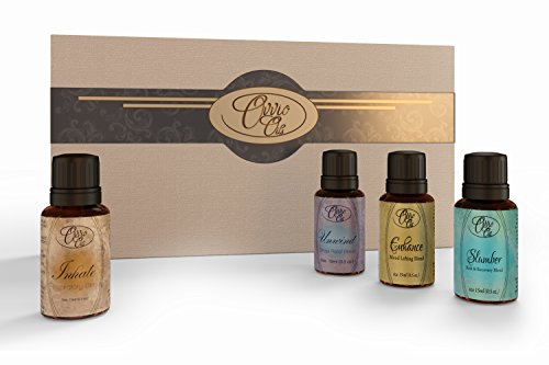Top Aromatherapy Blends Gift Set By Ovvio Oils. Save 46% Off Our Most Popular Blends by Combining In This Special Essential Oils Kit (Inhale Respiratory, Unwind Stress Relief, Enhance Mood Lifting And Slumber Natural Sleep Blends). 4 Full Size 15ml Bottl