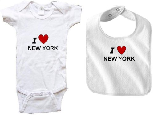 I LOVE NEW YORK - NEW YORK BABY - 2 Piece Baby-Set - State-series - White Onesie / Baby T-shirt and White Bib - size Newborn (0-6M) at Amazon.com