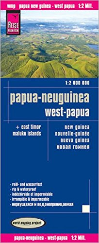 Papúa Nueva Guinea, Papúa Occidental, Timor Oriental, Islas Maluku, mapa impermeable de carreteras. Escala 1:2.000.000. Reise Know-How. (12m)