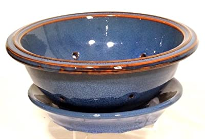 Genuine Terracotta 24cm Salad Bowl With Plate - Midnight Blue from Be-Active