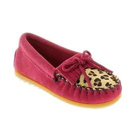 Minnetonka Leopard Kilty Moc (Toddler/Little Kid/Big Kid),Hot Pink,10 M US Toddler