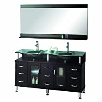 Big Sale Virtu USA MD-61-G-ES Vincente Rocco 59-Inch Double Sink Bathroom Vanity Set with Shelf, Faucets and Integrated Basins, Espresso Finish