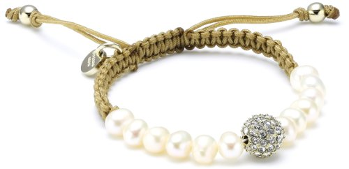Dyrberg/Kern 333887 White  Synthetic Pearl and Crystal  Brass Bracelet