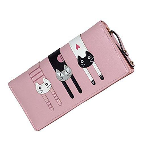 jolin-womens-cute-cat-wallets-bifold-long-purse-with-zipperpink
