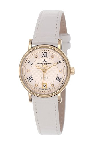 Yonger & Bresson - DCP 1689/22 - Ladies Watch - Analogue Quartz - Silver Dial - White Leather Bracelet and Gold