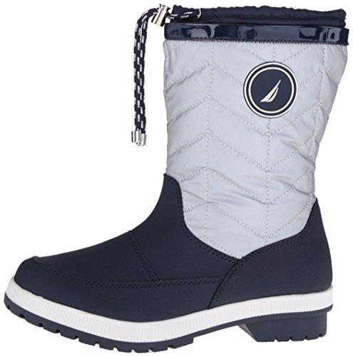 Nautica Women's Becher Snow Boot, Silver/Navy, 8 M US