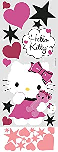 Hello Kitty Couture Giant Wall Decal and Mini Hearts and Stars Bundle Makeover Kit