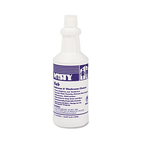 Misty Products - Misty - NAB Nonacid Bathroom Cleaner, 32 oz. Bottle - Sold As 1 Each - Concentrated, all-purpose bathroom cleaner cleans, brightens and deodorizes. - Removes soap scum, body oils and grease from toilets, urinals, sinks, tubs, showers, restroom partitions, ceramic tile walls and floors, and more. - Adept at removing white alkaline film and light water scale. - NSF/USDA Classification C1. -