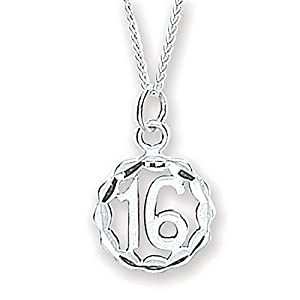 Chic Silver '16' Pendant with 46cm Chain
