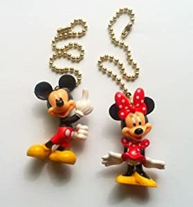 New 2 Disney Mickey Minnie Mouse Figure Ceiling Fan Light