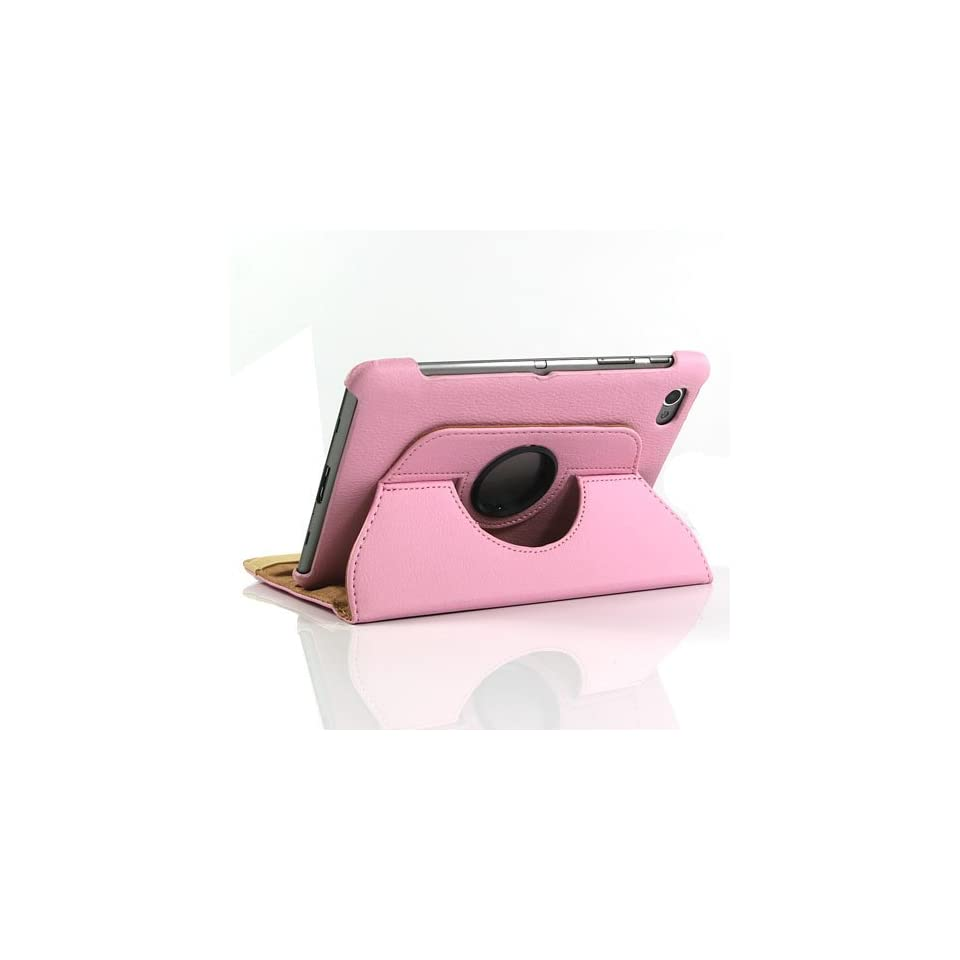 Pink / PU Leather Flip Stand Case for Galaxy Tab GT P6800 / Galaxy Tab 7.7+Free Screen Protector (Can Roate) (7236 2)