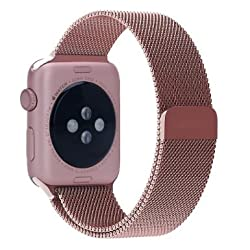 Apple Watch Band, BRG 38mm Milanese Loop Stainless Steel Bracelet Strap Replacement Wrist Band for Apple Watch with Magnet Lock (Original Rose Gold- 38mm)