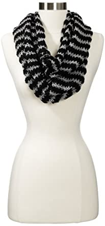Echo Design Women's Stripe High Low Infinity Ring Wrap, Black, One Size