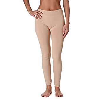 Yelete Womens Fleece Lined Seamless Leggings (Beige, One Size)