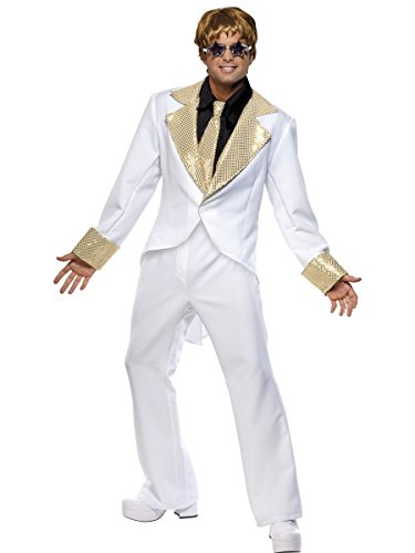 Smiffys Retro 70s Disco White Suit Mens Travolta Halloween Costume