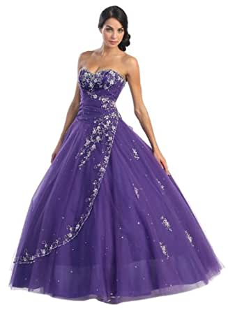 Ball Gown Formal Prom Wedding Dress #586 (4, Purple)