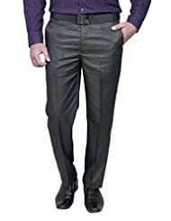 Routeen Men's Maruti Black Slim Fit Formal Trousers