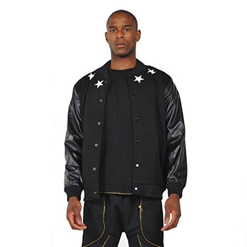 Pizoff uomo Hip Hop Jacket Bomber di lana con maniche in pelle sintetica