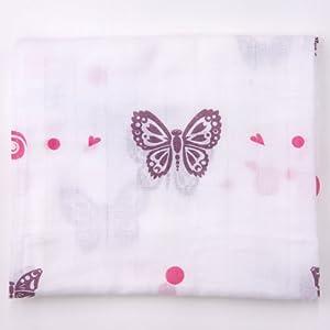 Butterflies (Purple & Pink) Organic Muslin Swaddling Blanket