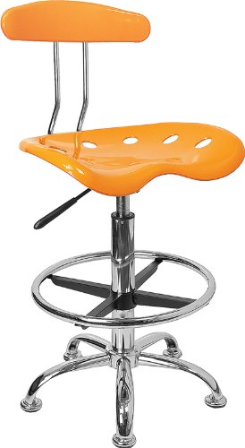 LF-215-YELLOW-GG Vibrant Orange-Yellow and Chrome Drafting Stool with Tractor 300740