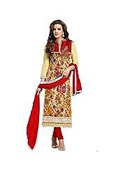 Leela Creators Printed Soft Brasso Salwar Suits (Red)