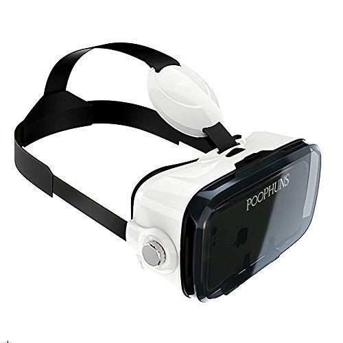 POOPHUNS Occhiali 3D VR-VR Box-3D VR Glasses-Visore Realtà Virtuale Compatibile con gli Smartphone da 4.7-6.2 Pollici, VR Headset per Smartphone, Telefoni iOS Android