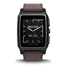 Vector Watch Meridian Smartwatch-30 Day+ Autonomy, 5ATM, Notifications, Activity Tracking - Black Case/ Brown Leather-Casual