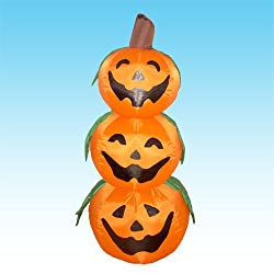 4 Foot Halloween Inflatable 3 Jack-O-Lanterns Yard Art...