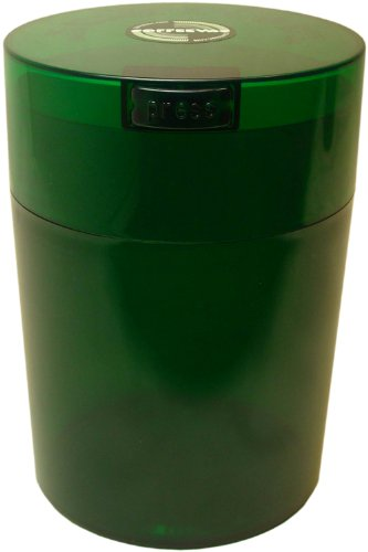 Tightvac Coffeevac 1 Pound Vacuum Sealed Storage Container,  Emerald Tinted Body/Cap