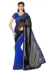 Designersareez Women Black & Blue Faux Georgette Saree With Unstitched Blouse (1763)