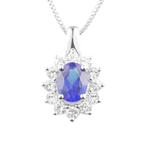 Sterling Silver Created Blue Sapphire and Created White Sapphire Pendant Necklace, 18