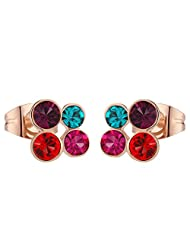 Peora Valentine Gift Colourful Austrian Crystal Studs With 18K Gold Plating (PFCE13)