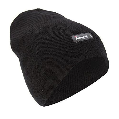 メンズ 冬ウインター用 あったか 無地 3Mシンサレート ニット帽 ニットキャップ ビーニーハット スキーハット 帽子 男性用 (ワンサイズ) (ブラック)