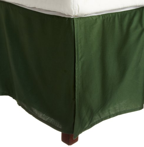 Impressions Genuine Egyptian Cotton 300 Thread Count Pleated Queen Bed Skirt Solid, Hunter Green back-920626